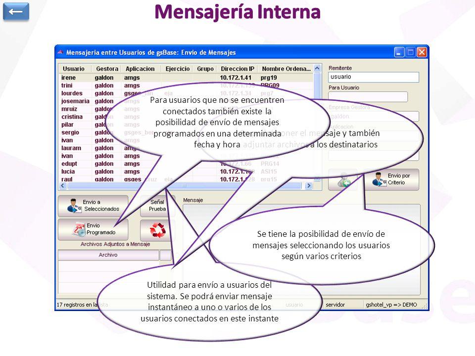 Utilidad para envío a usuarios del sistema. Se podrá enviar mensaje instantáneo a uno o varios de los usuarios conectados en este instante Se podrá po