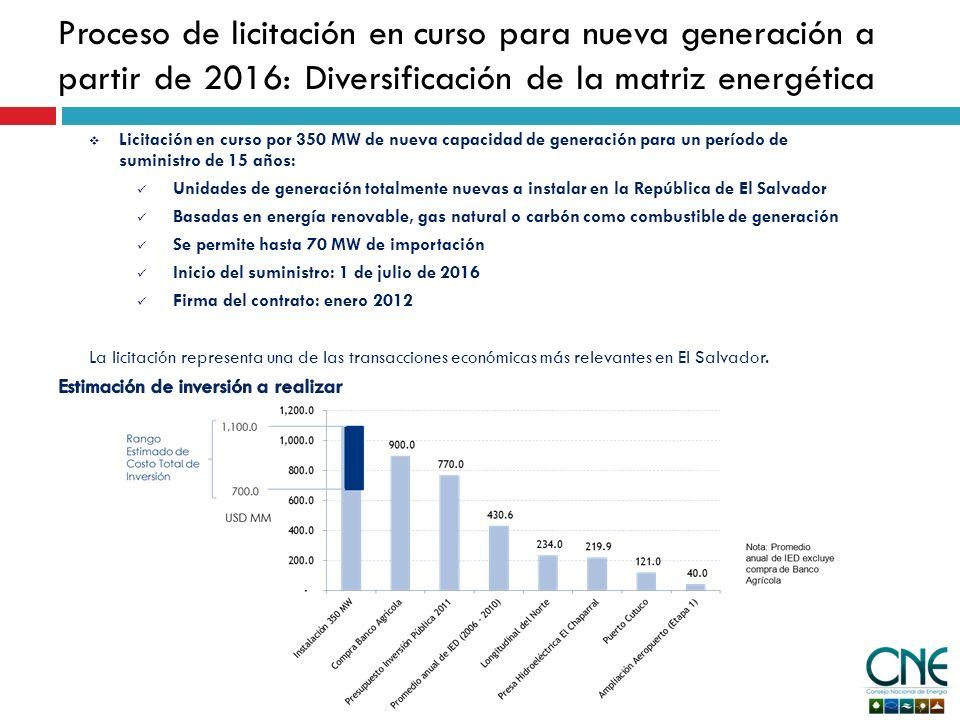Proceso de licitación en curso para nueva generación a partir de 2016: Diversificación de la matriz energética Licitación en curso por 350 MW de nueva capacidad de generación para un período de suministro de 15 años: Unidades de generación totalmente nuevas a instalar en la República de El Salvador Basadas en energía renovable, gas natural o carbón como combustible de generación Se permite hasta 70 MW de importación Inicio del suministro: 1 de julio de 2016 Firma del contrato: enero 2012 La licitación representa una de las transacciones económicas más relevantes en El Salvador.