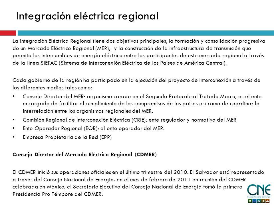 La Integración Eléctrica Regional tiene dos objetivos principales, la formación y consolidación progresiva de un Mercado Eléctrico Regional (MER), y la construcción de la infraestructura de transmisión que permita los intercambios de energía eléctrica entre los participantes de este mercado regional a través de la línea SIEPAC (Sistema de Interconexión Eléctrica de los Países de América Central).