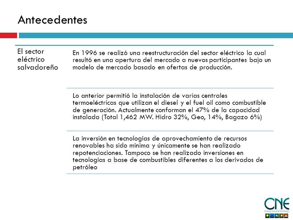 Antecedentes El sector eléctrico salvadoreño En 1996 se realizó una reestructuración del sector eléctrico la cual resultó en una apertura del mercado a nuevos participantes bajo un modelo de mercado basado en ofertas de producción.