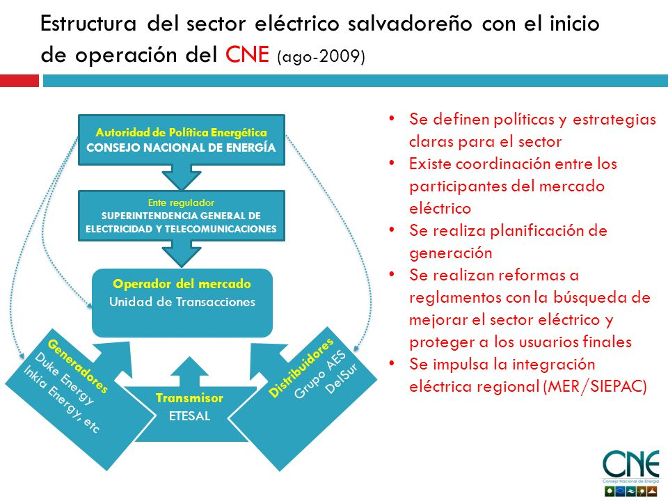 Integración eléctrica regional La integración eléctrica regional, permitirá: La creación de un mercado eléctrico regional: que implica la armonización del Reglamento de Operación del Mercado Eléctrico Regional (RMER) con los reglamentos nacionales, y puesta en marcha del mismo.
