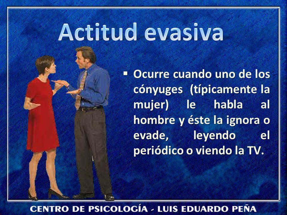 Ocurre cuando uno de los cónyuges (típicamente la mujer) le habla al hombre y éste la ignora o evade, leyendo el periódico o viendo la TV. Ocurre cuan