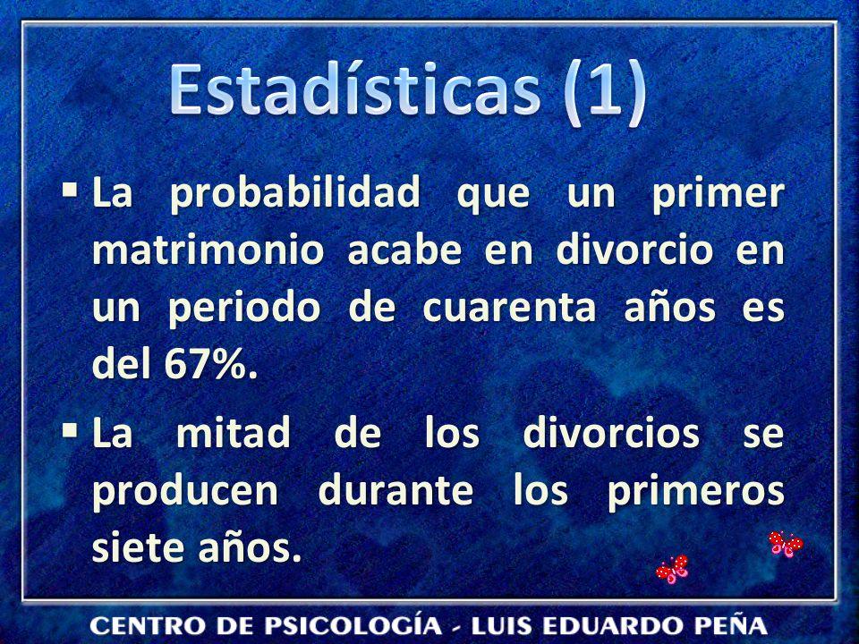 La probabilidad que un primer matrimonio acabe en divorcio en un periodo de cuarenta años es del 67%. La probabilidad que un primer matrimonio acabe e