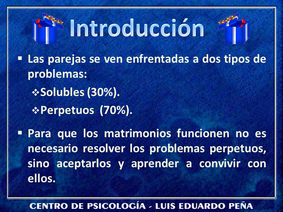 Las parejas se ven enfrentadas a dos tipos de problemas: Solubles (30%).