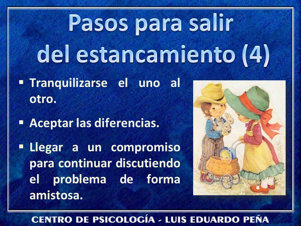 Tranquilizarse el uno al otro. Aceptar las diferencias. Llegar a un compromiso para continuar discutiendo el problema de forma amistosa.