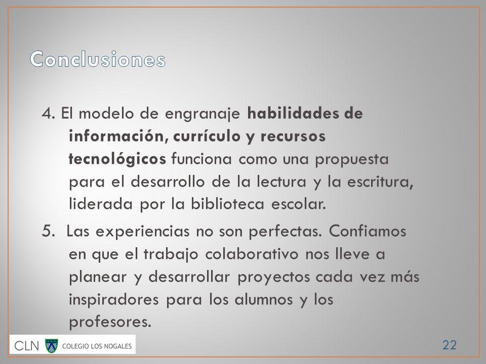 22 4. El modelo de engranaje habilidades de información, currículo y recursos tecnológicos funciona como una propuesta para el desarrollo de la lectur