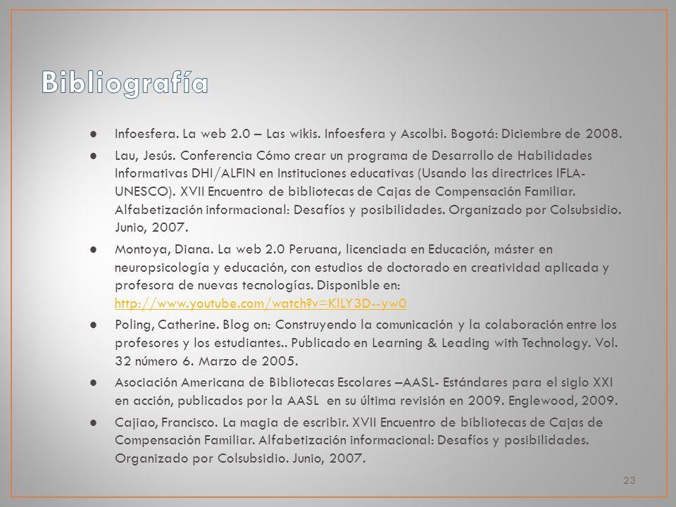 23 Infoesfera. La web 2.0 – Las wikis. Infoesfera y Ascolbi. Bogotá: Diciembre de 2008. Lau, Jesús. Conferencia Cómo crear un programa de Desarrollo d