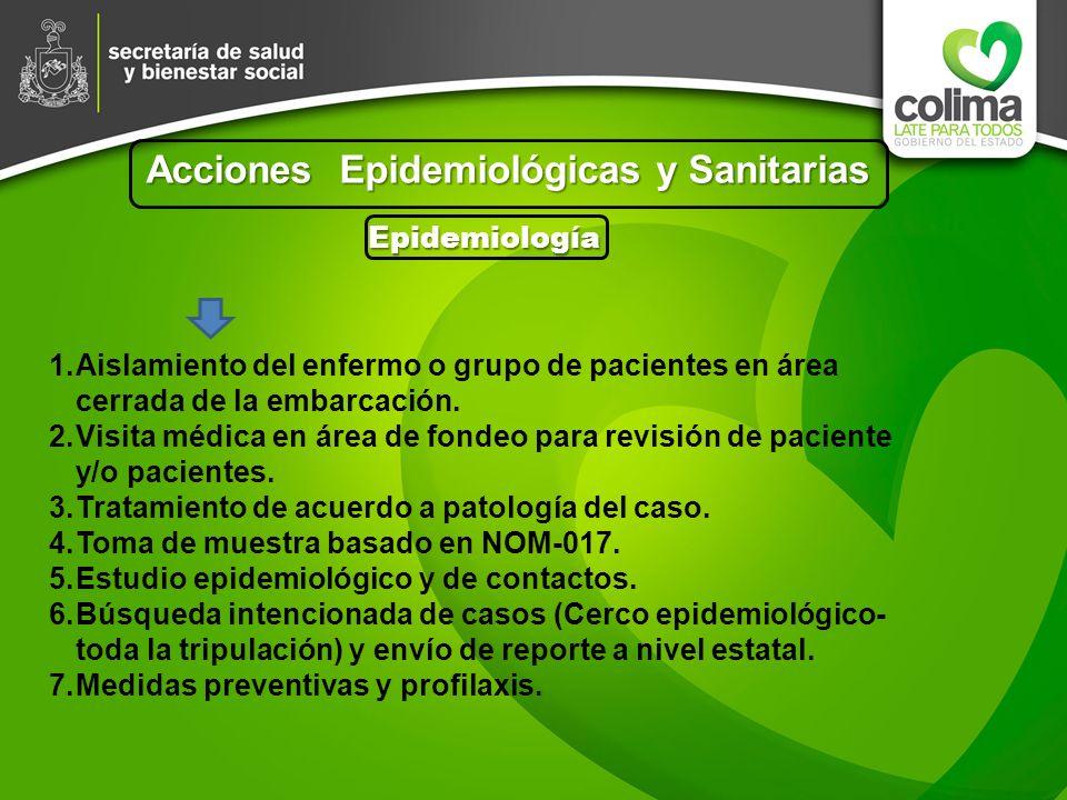 Acciones Epidemiológicas y Sanitarias Epidemiología 1.Aislamiento del enfermo o grupo de pacientes en área cerrada de la embarcación. 2.Visita médica