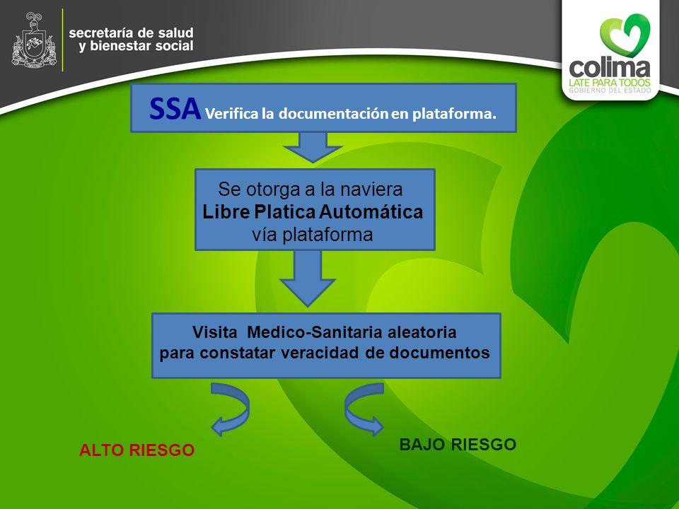 SSA Verifica la documentación en plataforma. Se otorga a la naviera Libre Platica Automática vía plataforma Visita Medico-Sanitaria aleatoria para con