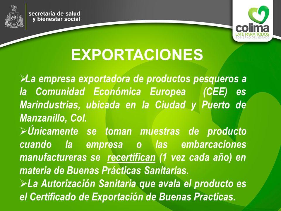 EXPORTACIONES La empresa exportadora de productos pesqueros a la Comunidad Económica Europea (CEE) es Marindustrias, ubicada en la Ciudad y Puerto de