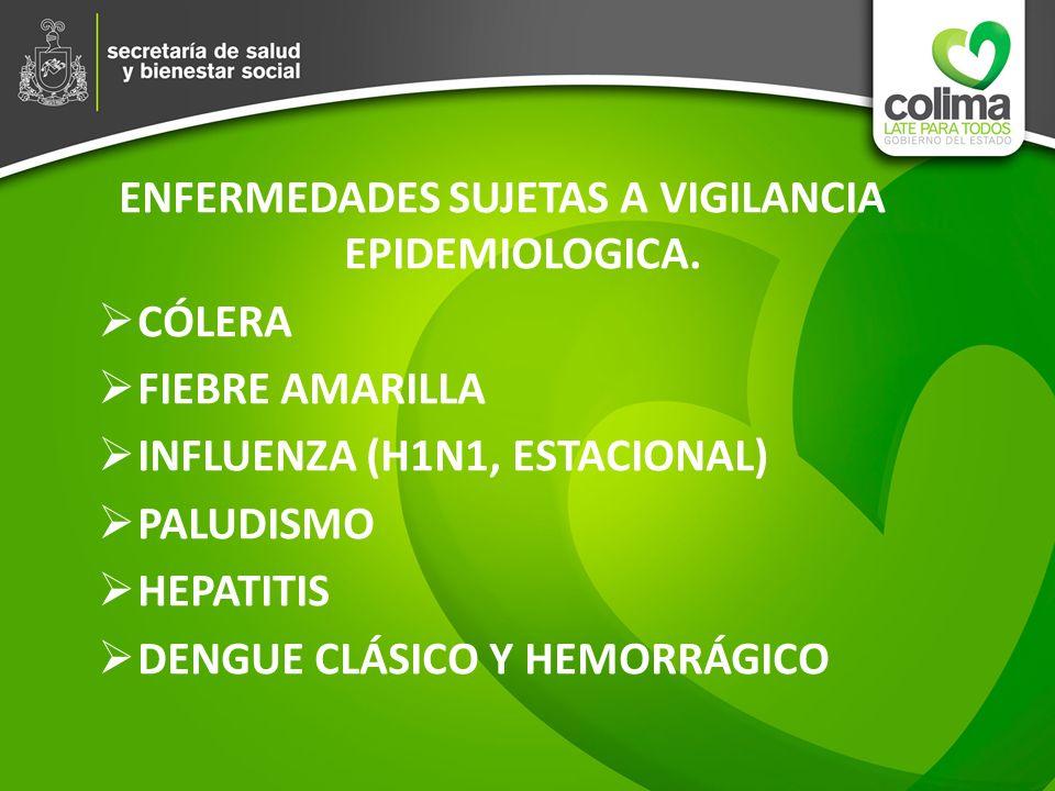 ENFERMEDADES SUJETAS A VIGILANCIA EPIDEMIOLOGICA. CÓLERA FIEBRE AMARILLA INFLUENZA (H1N1, ESTACIONAL) PALUDISMO HEPATITIS DENGUE CLÁSICO Y HEMORRÁGICO