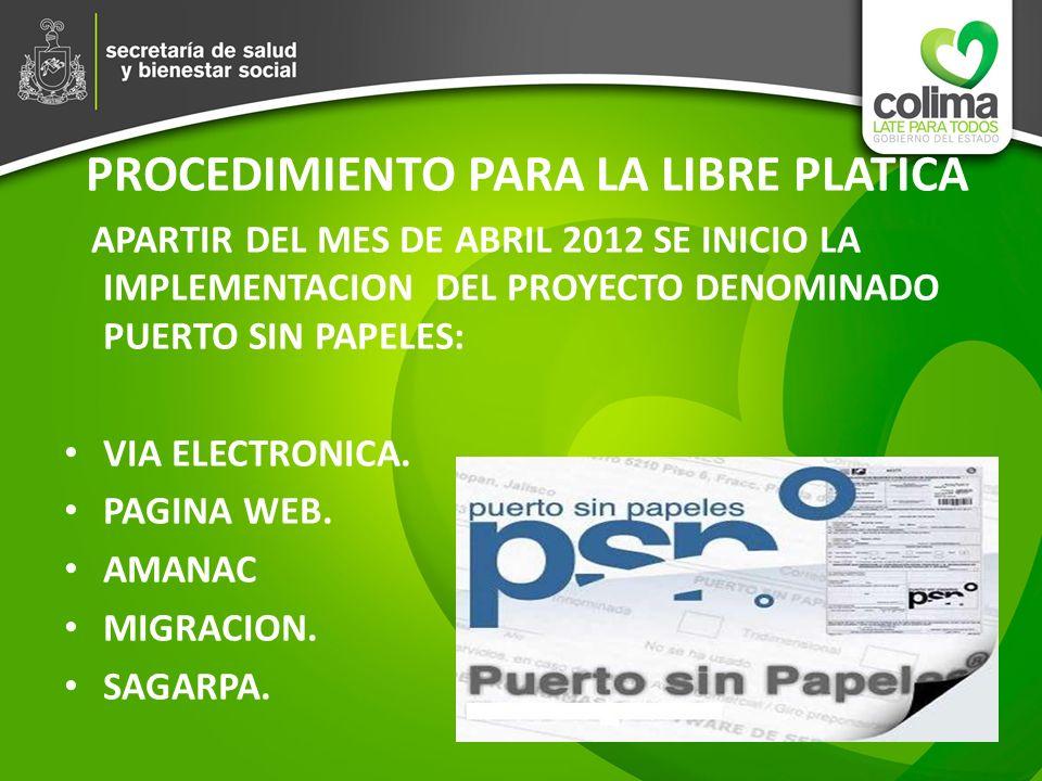 PROCEDIMIENTO PARA LA LIBRE PLATICA APARTIR DEL MES DE ABRIL 2012 SE INICIO LA IMPLEMENTACION DEL PROYECTO DENOMINADO PUERTO SIN PAPELES: VIA ELECTRON