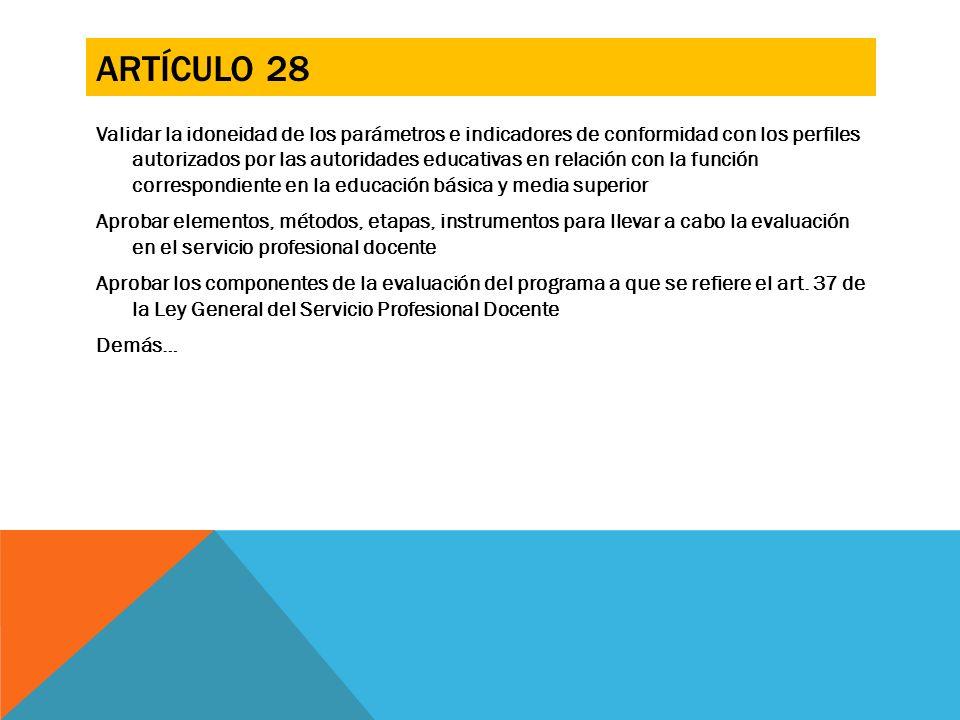 ARTÍCULO 28 Validar la idoneidad de los parámetros e indicadores de conformidad con los perfiles autorizados por las autoridades educativas en relació