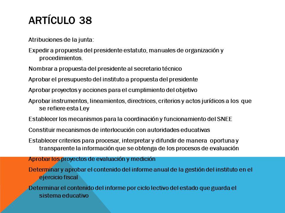 ARTÍCULO 38 Atribuciones de la junta: Expedir a propuesta del presidente estatuto, manuales de organización y procedimientos. Nombrar a propuesta del