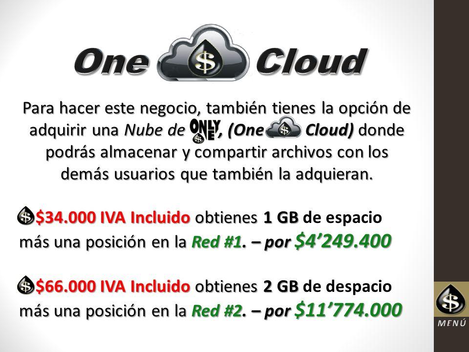 Para hacer este negocio, también tienes la opción de adquirir una Nube de, (One Cloud) donde podrás almacenar y compartir archivos con los demás usuarios que también la adquieran.