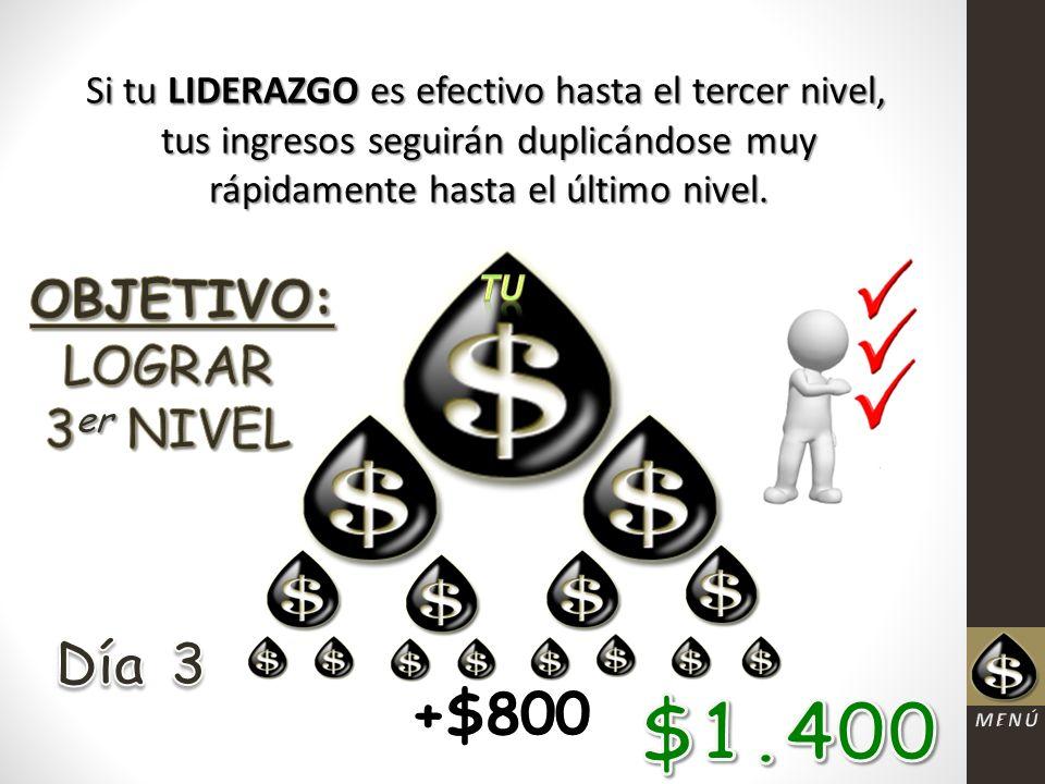 Si tu LIDERAZGO es efectivo hasta el tercer nivel, tus ingresos seguirán duplicándose muy rápidamente hasta el último nivel.