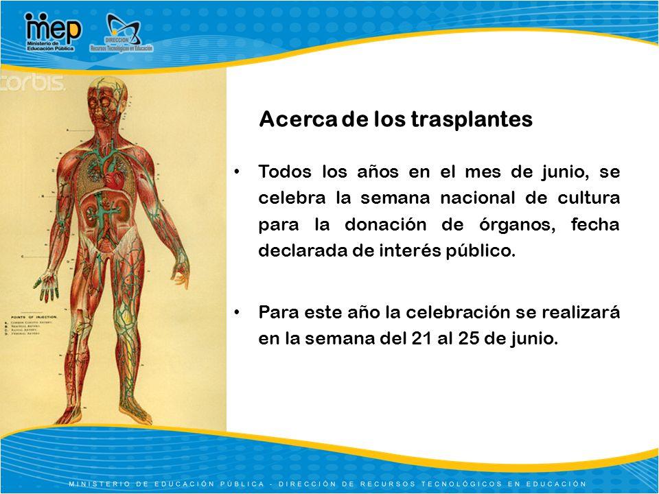 Todos los años en el mes de junio, se celebra la semana nacional de cultura para la donación de órganos, fecha declarada de interés público. Para este