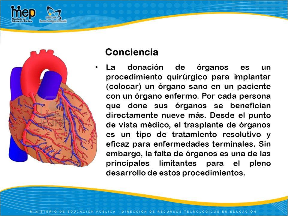 Conciencia La donación de órganos es un procedimiento quirúrgico para implantar (colocar) un órgano sano en un paciente con un órgano enfermo. Por cad