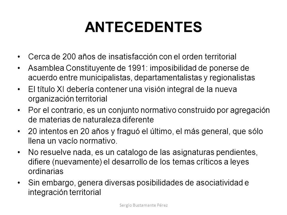 ANTECEDENTES Cerca de 200 años de insatisfacción con el orden territorial Asamblea Constituyente de 1991: imposibilidad de ponerse de acuerdo entre mu