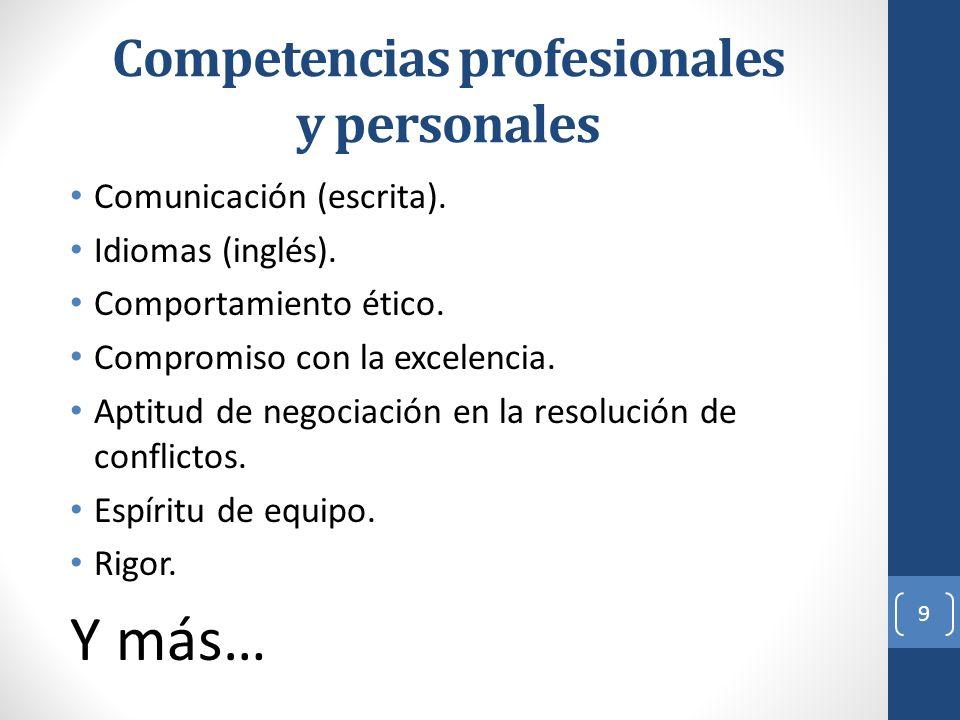 Competencias profesionales y personales Comunicación (escrita). Idiomas (inglés). Comportamiento ético. Compromiso con la excelencia. Aptitud de negoc