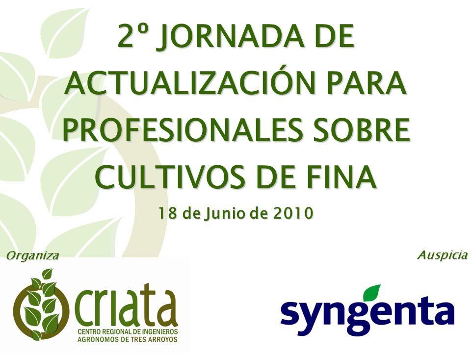 2º JORNADA DE ACTUALIZACIÓN PARA PROFESIONALES SOBRE CULTIVOS DE FINA 18 de Junio de 2010 Organiza Auspicia