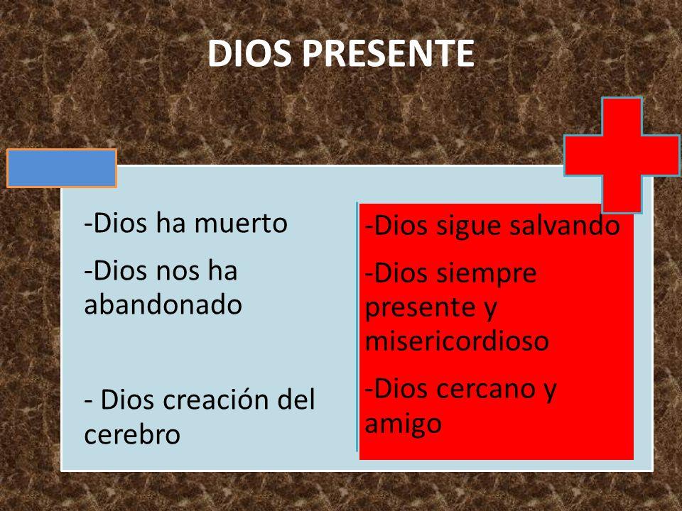 DIOS PRESENTE -Dios ha muerto -Dios nos ha abandonado - Dios creación del cerebro -Dios sigue salvando -Dios siempre presente y misericordioso -Dios c