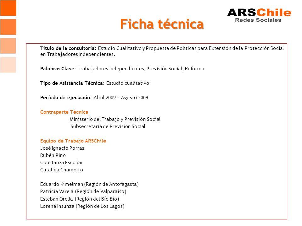 Ficha técnica Título de la consultoría: Estudio Cualitativo y Propuesta de Políticas para Extensión de la Protección Social en Trabajadores Independientes.