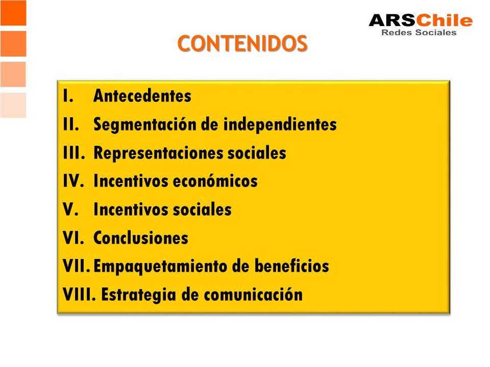 CONTENIDOS I.Antecedentes II.Segmentación de independientes III.Representaciones sociales IV.Incentivos económicos V.Incentivos sociales VI.Conclusiones VII.Empaquetamiento de beneficios VIII.