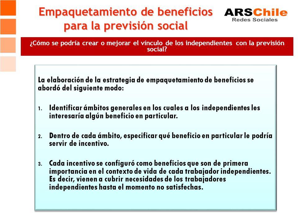 Empaquetamiento de beneficios para la previsión social ¿Cómo se podría crear o mejorar el vínculo de los independientes con la previsión social? La el