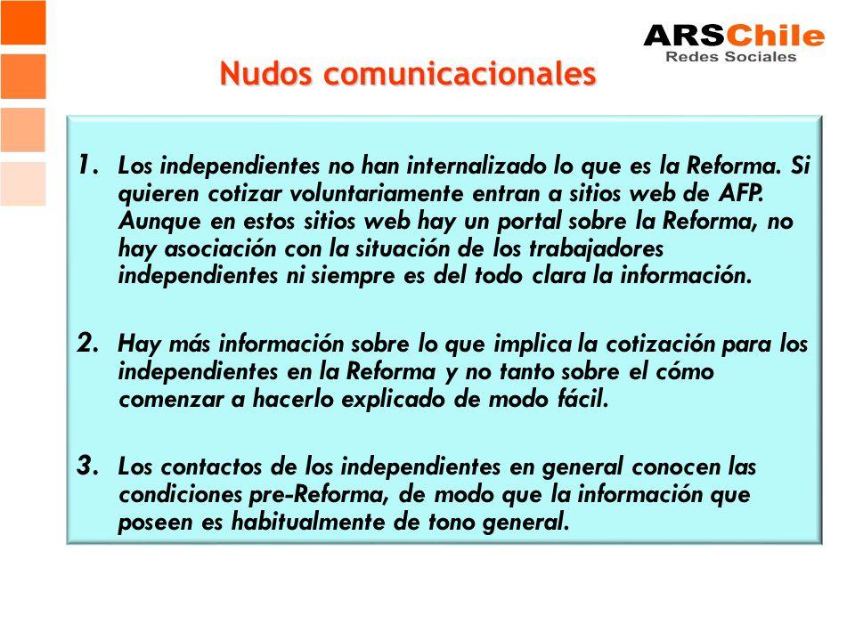 Nudos comunicacionales 1. Los independientes no han internalizado lo que es la Reforma. Si quieren cotizar voluntariamente entran a sitios web de AFP.