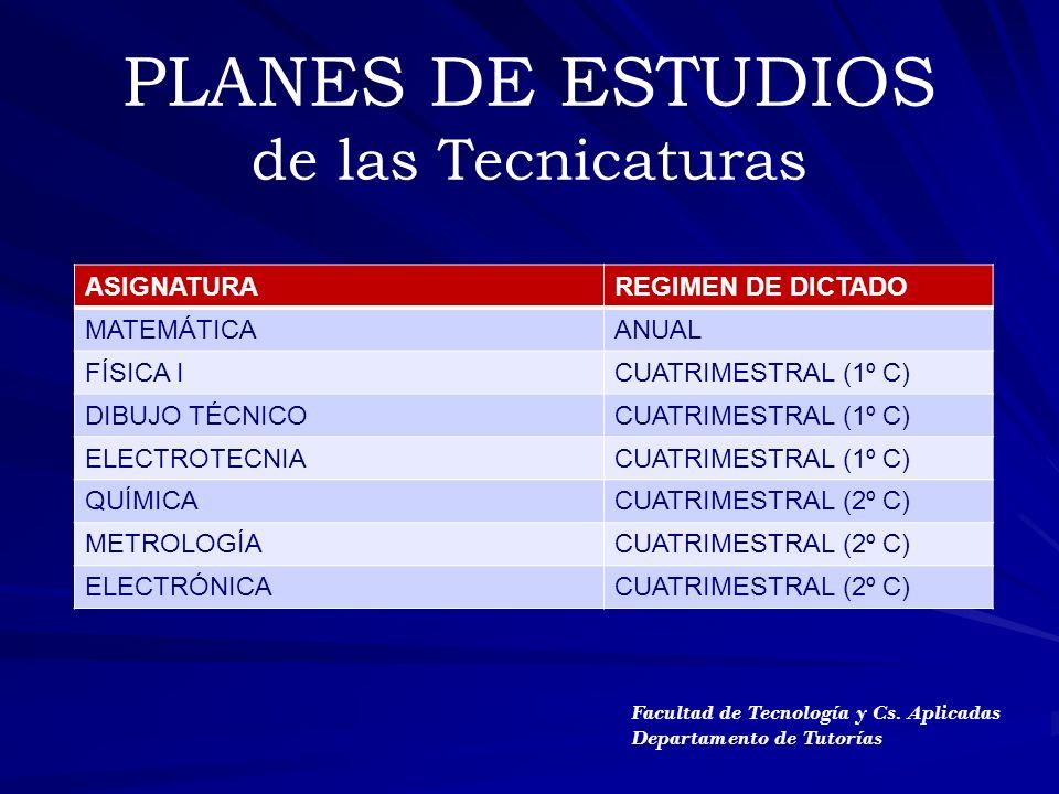 PLANES DE ESTUDIOS de las Tecnicaturas ASIGNATURAREGIMEN DE DICTADO MATEMÁTICAANUAL FÍSICA ICUATRIMESTRAL (1º C) DIBUJO TÉCNICOCUATRIMESTRAL (1º C) EL