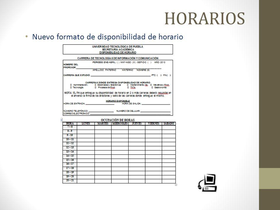 HORARIOS Nuevo formato de disponibilidad de horario