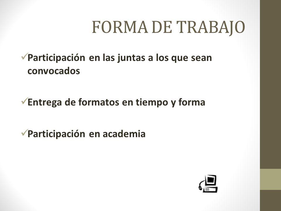 FORMA DE TRABAJO Participación en las juntas a los que sean convocados Entrega de formatos en tiempo y forma Participación en academia