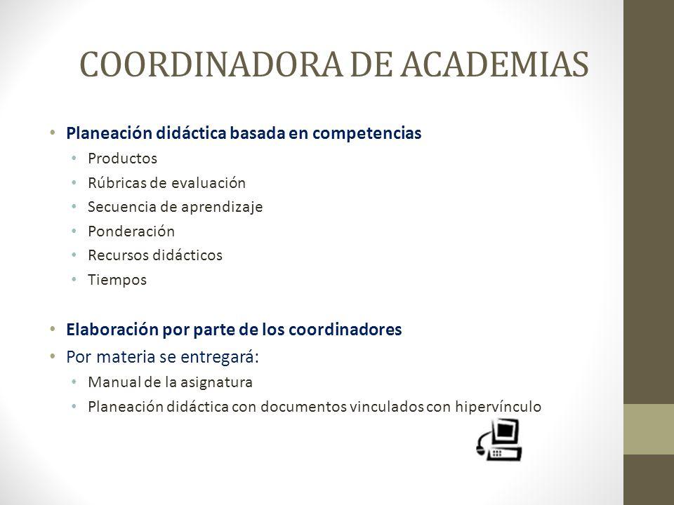 COORDINADORA DE ACADEMIAS Planeación didáctica basada en competencias Productos Rúbricas de evaluación Secuencia de aprendizaje Ponderación Recursos d