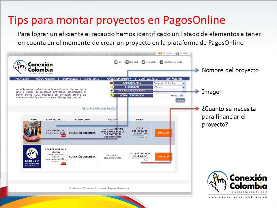 Tips para montar proyectos en PagosOnline Para lograr un eficiente el recaudo hemos identificado un listado de elementos a tener en cuenta en el momento de crear un proyecto en la plataforma de PagosOnline Nombre del proyecto Imagen ¿Cuánto se necesita para financiar el proyecto