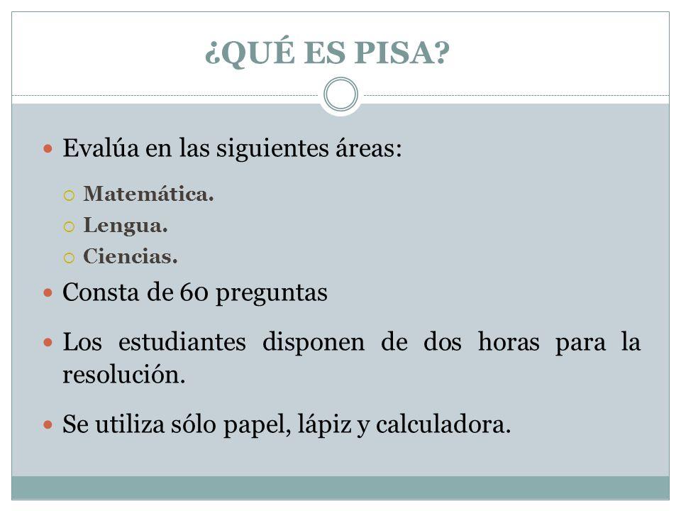 Los ítems de las pruebas PISA no están separados por áreas pero cuentan con un código que permite reconocer a qué área corresponde el problema: Si el código comienza con la letra PM corresponde a matemática.