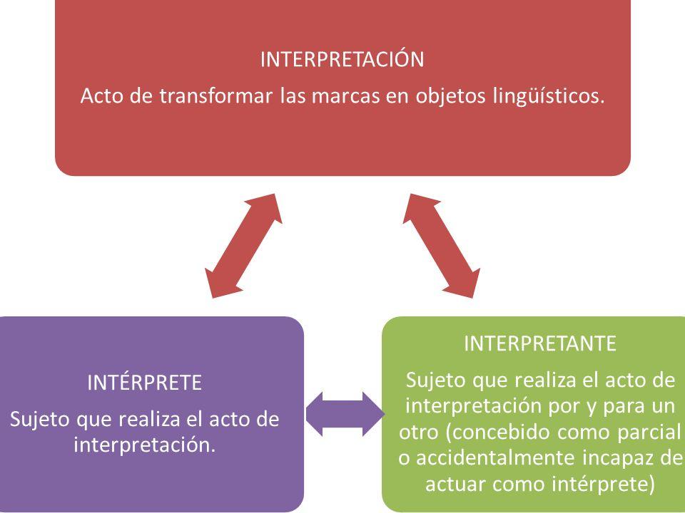 INTERPRETACIÓN Acto de transformar las marcas en objetos lingüísticos. INTERPRETANTE Sujeto que realiza el acto de interpretación por y para un otro (
