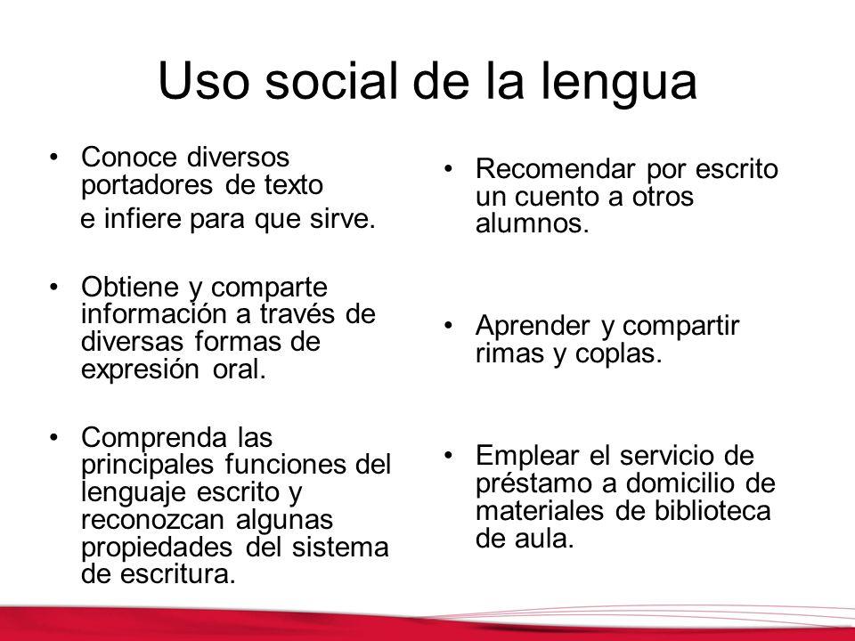 Uso social de la lengua Conoce diversos portadores de texto e infiere para que sirve. Obtiene y comparte información a través de diversas formas de ex