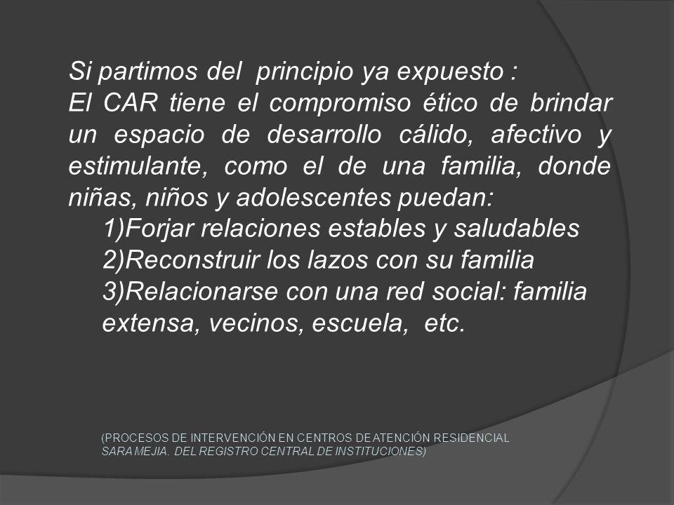 Si partimos del principio ya expuesto : El CAR tiene el compromiso ético de brindar un espacio de desarrollo cálido, afectivo y estimulante, como el d