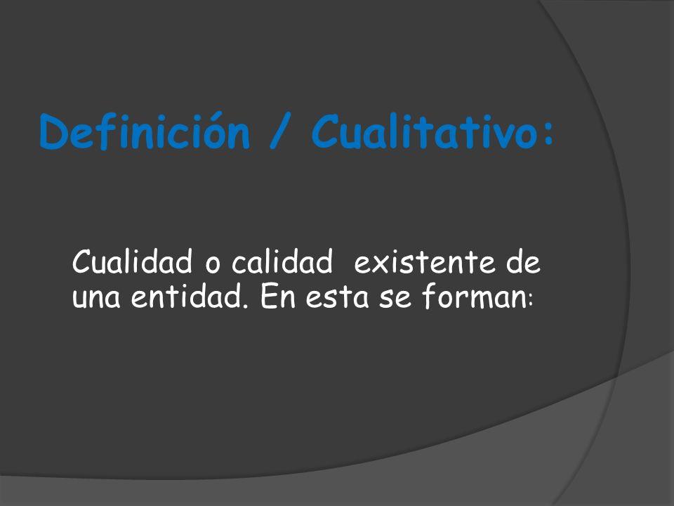 Definición / Cualitativo: Cualidad o calidad existente de una entidad. En esta se forman :
