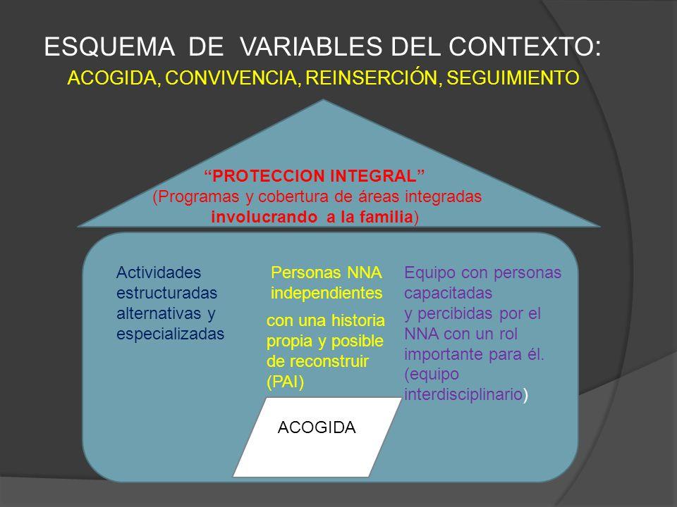 ESQUEMA DE VARIABLES DEL CONTEXTO : ACOGIDA, CONVIVENCIA, REINSERCIÓN, SEGUIMIENTO ACOGIDA Personas NNA independientes Equipo con personas capacitadas
