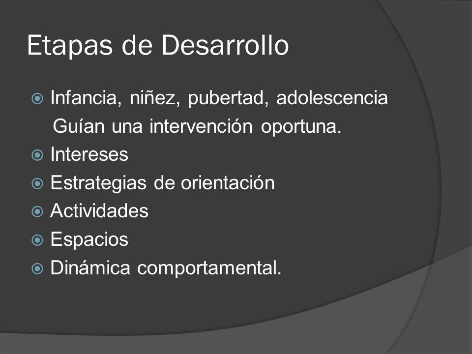 Etapas de Desarrollo Infancia, niñez, pubertad, adolescencia Guían una intervención oportuna. Intereses Estrategias de orientación Actividades Espacio