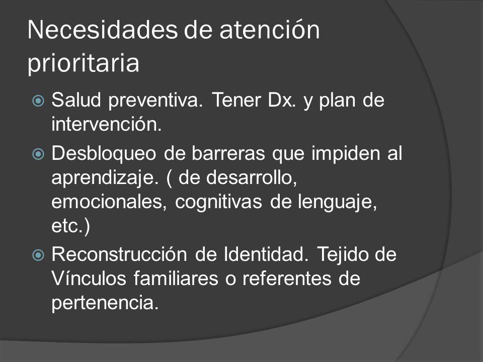 Necesidades de atención prioritaria Salud preventiva. Tener Dx. y plan de intervención. Desbloqueo de barreras que impiden al aprendizaje. ( de desarr