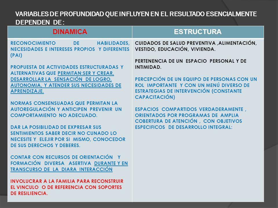 VARIABLES DE PROFUNDIDAD QUE INFLUYEN EN EL RESULTADO ESENCIALMENTE DEPENDEN DE :,. DINAMICAESTRUCTURA RECONOCIMIENTO DE HABILIDADES, NECESIDADES E IN