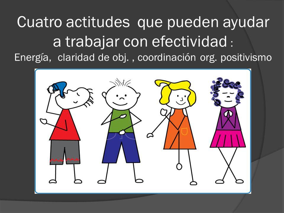 Cuatro actitudes que pueden ayudar a trabajar con efectividad : Energía, claridad de obj., coordinación org. positivismo