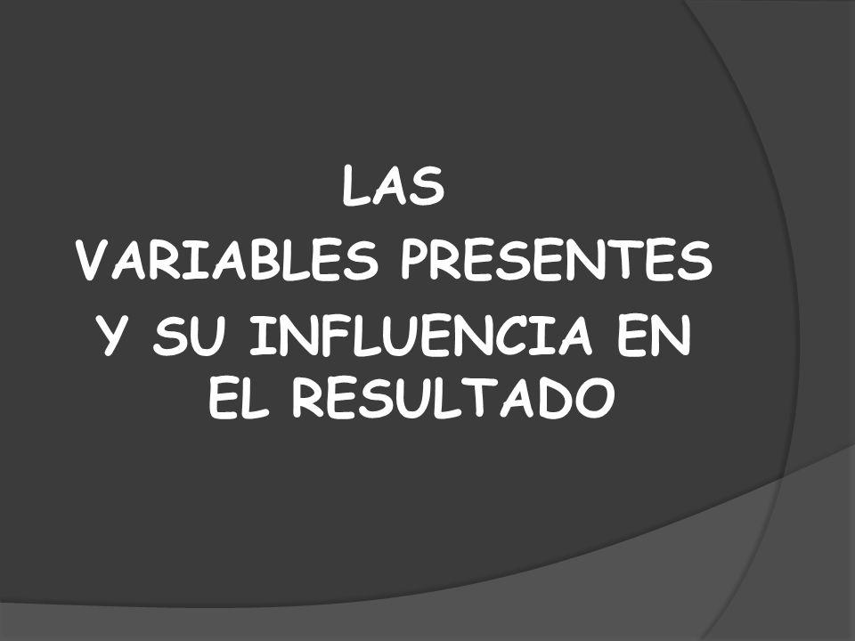LAS VARIABLES PRESENTES Y SU INFLUENCIA EN EL RESULTADO