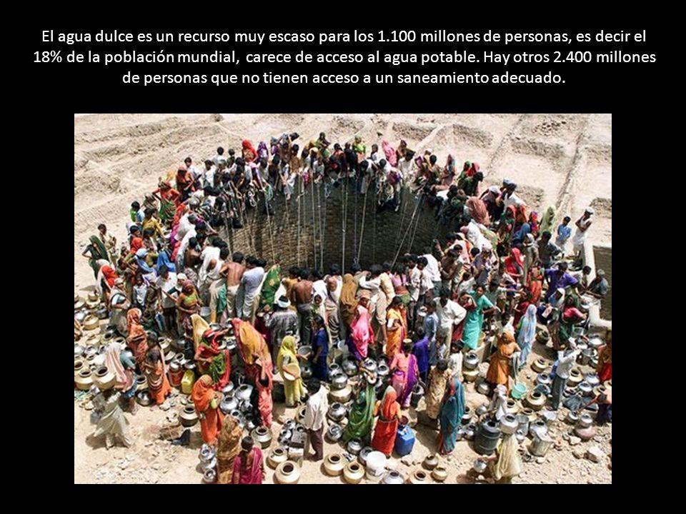 El agua dulce es un recurso muy escaso para los 1.100 millones de personas, es decir el 18% de la población mundial, carece de acceso al agua potable.