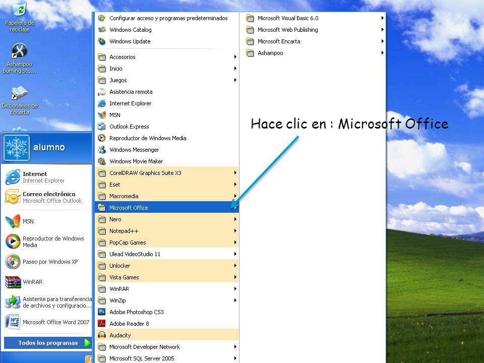 Hace clic en: Microsoft office Word