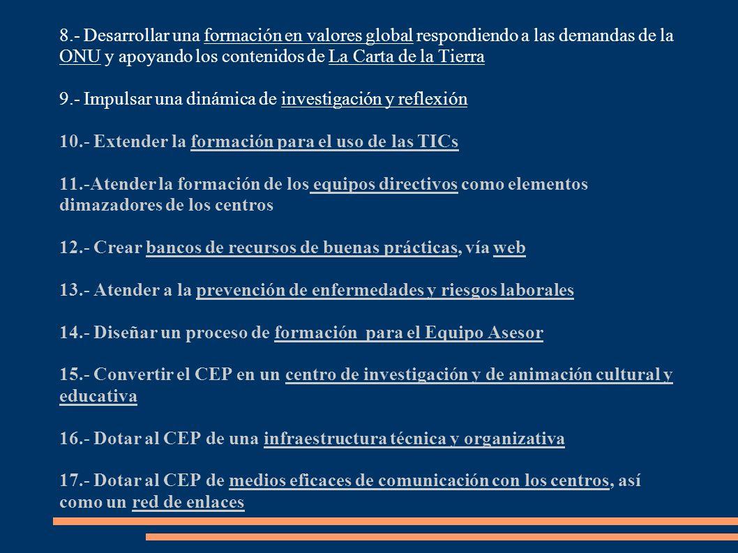 PLANES DE ACTUACIÓN Deben recoger: - El diagnóstico de necesidades y las propuestas de actividades formativas de todo el profesorado del sistema educativo.