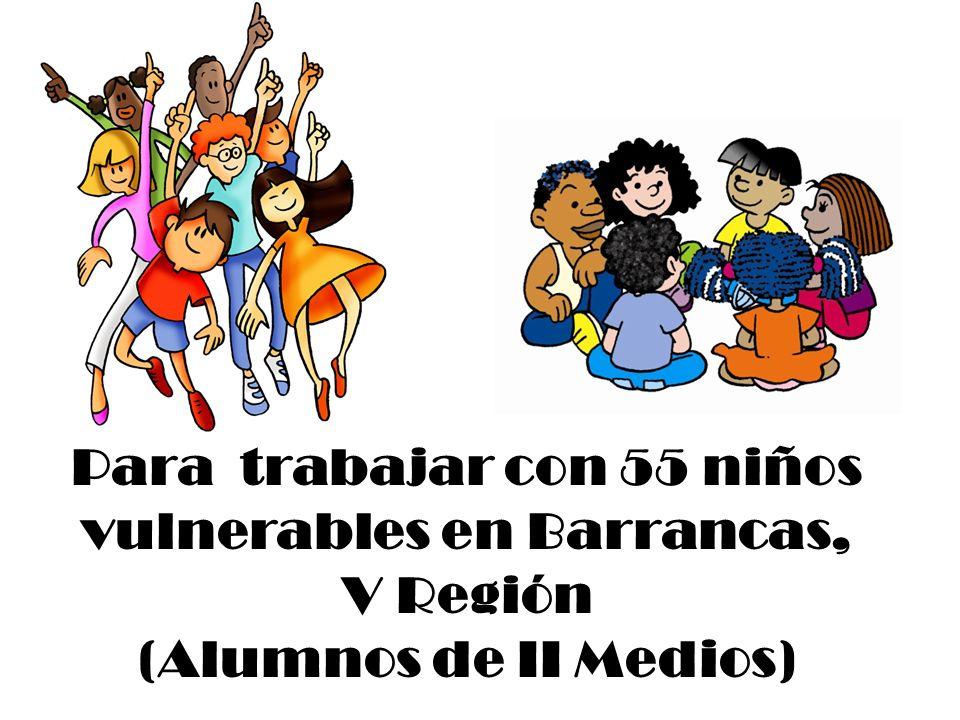 Para trabajar con 55 niños vulnerables en Barrancas, V Región (Alumnos de II Medios)